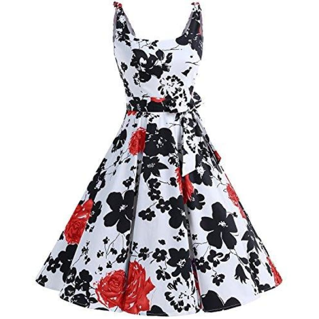 1950S Bowknot Vintage Retro Polka Dot Rockabilly Swing Dress X-Small / Redflower Dresses