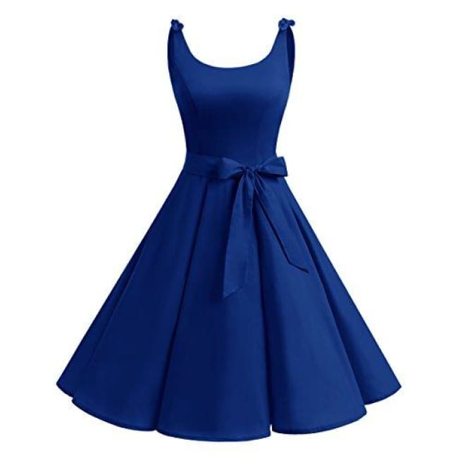 1950S Bowknot Vintage Retro Polka Dot Rockabilly Swing Dress X-Small / Royalblue Dresses