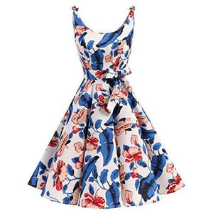 1950S Bowknot Vintage Retro Polka Dot Rockabilly Swing Dress X-Small / Royalblue Flower Dresses