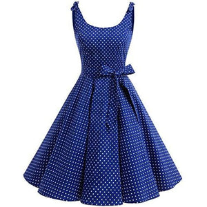 1950S Bowknot Vintage Retro Polka Dot Rockabilly Swing Dress X-Small / Royalblue White Dot Dresses