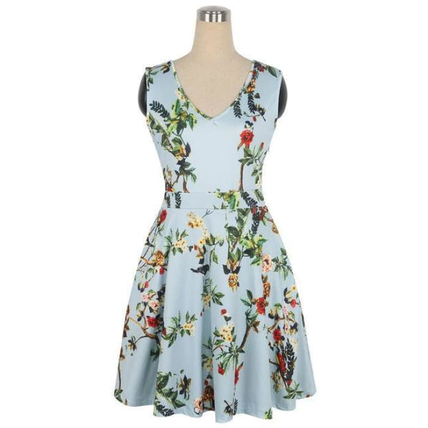 1950S Style Dress Floral Print White Patchwork Baby Blue / S Dresses