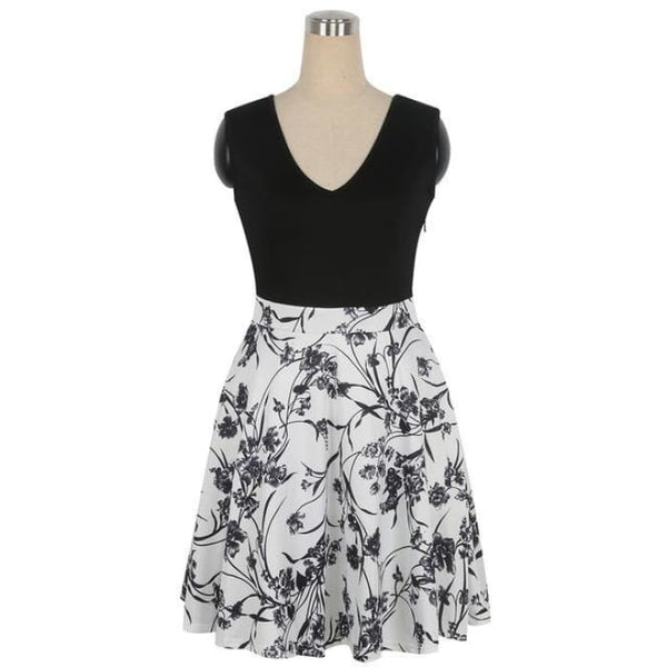 1950S Style Dress Floral Print White Patchwork Black White / S Dresses