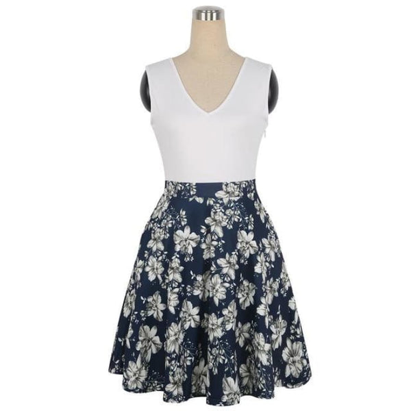 1950S Style Dress Floral Print White Patchwork White Blue / S Dresses