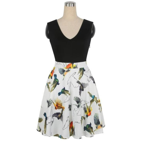 1950S Style Dress Floral Print White Patchwork Yellow Bird / S Dresses