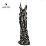 Missord 2019 Sexy Graceful V Neck Off Shoulder Sequin Female Maxi evening Party Dress Vestidos  FT8927