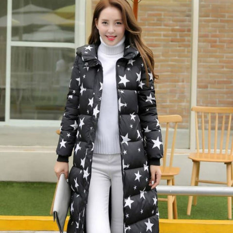 1Pc Winter Jacket Women Winter Coat Stars Print Hooded Parka Black / Xxl Parkas