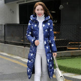 1Pc Winter Jacket Women Winter Coat Stars Print Hooded Parka Blue / Xxl Parkas