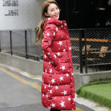 1Pc Winter Jacket Women Winter Coat Stars Print Hooded Parka Red / Xxl Parkas