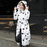 1Pc Winter Jacket Women Winter Coat Stars Print Hooded Parka White / Xxl Parkas