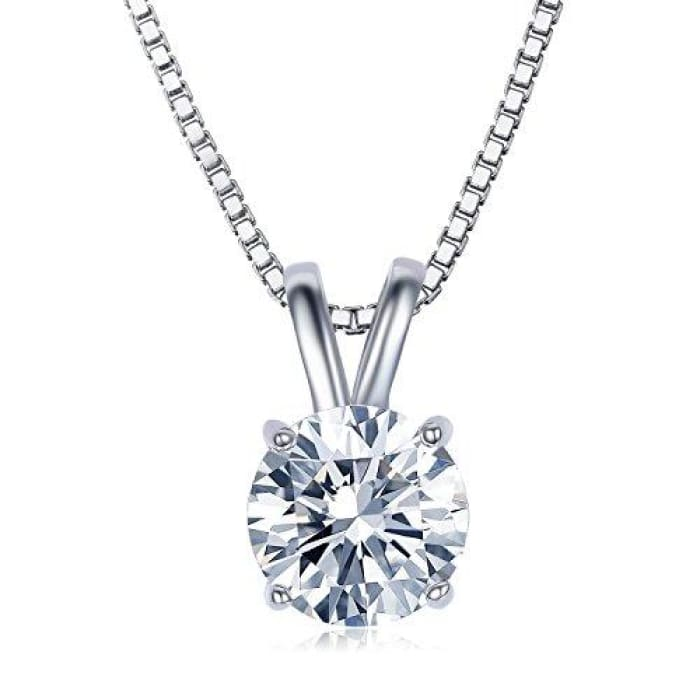 2 Carat Round Cut Clear Cubic Zirconia Cz Solitaire Pendant Necklace Necklaces