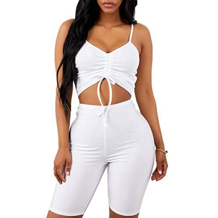 58d8b572261ee6 2 Piece Outfits Rompers Spaghetti Strap Crop Top + Shorts Pants Club Wear  Jumpsuits Rompers