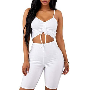 ae92224aea7 2 Piece Outfits Rompers Spaghetti Strap Crop Top + Shorts Pants Club Wear  Jumpsuits Rompers