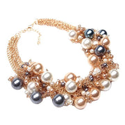2016 New Fashion Multi Gold Chains Cross Simulated Pearl Rhinestones Choker Statement Necklaces Bijouterie Women Dress Whoselase