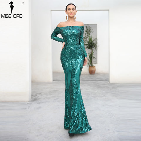 Missord 2019 Sexy bra Long sleeve  retro party dress sequin maxi reflective dress FT18392 1