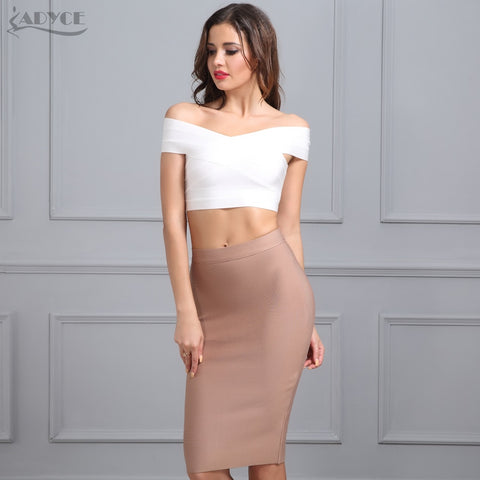 ADYCE New Women Khaki Bandage Skirts 2019 Sexy Celebrity Party Skirts Knee length Blue Red White Black Nude White Bodycon Skirt