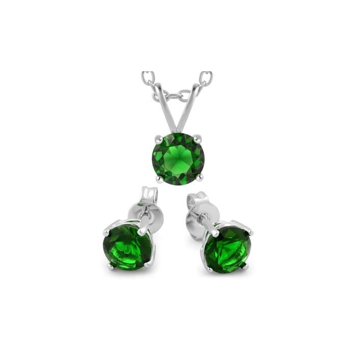 3.00 Cttw Emerald Cubic Zirconia Necklace And Earrings Set In 18K White Gold Plating