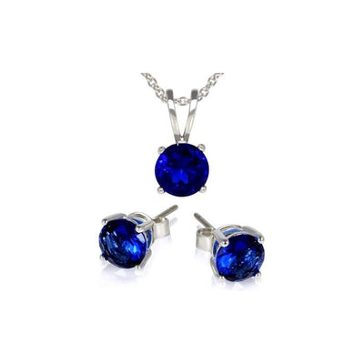 3.00 Ctw Simulated Sapphire Necklace And Stud Earrings Set In 18K White Gold Plating