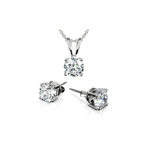 3.00 Ctw Stud Earrings And Necklace Set With Swarovski Elements Crystals In 18K White Gold Plating