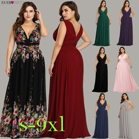 Ever Pretty Plus Size Evening Dresses Long Elegant V neck Chiffon A line Sleeveless Sexy Burgundy Party Dress robe soiree 2019