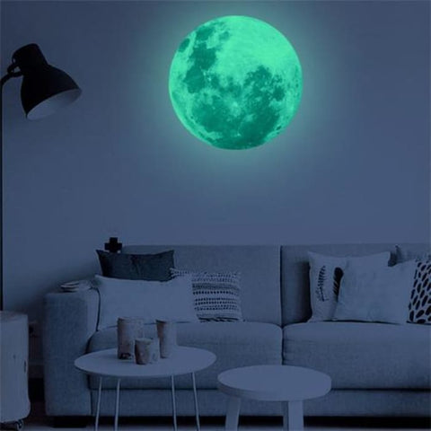 40Cm 3D Large Moon Fluorescent Wall Sticker Home & Garden