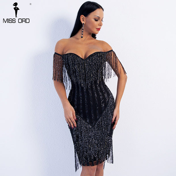 bf3388ac4e7 Missord 2019 Sexy Spring and Summer Off Shoulder Striped Glitter Elegant  Tassel Party Dress FT8781 1