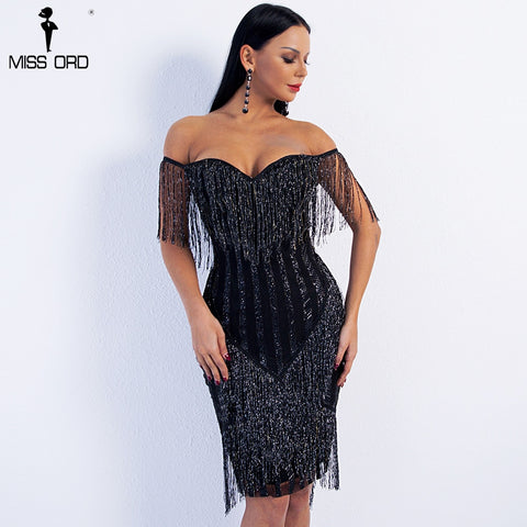 Missord 2019 Sexy Spring and Summer  Off Shoulder Striped Glitter Elegant  Tassel Party Dress FT8781 1