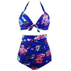 50S Black Pink Blue Floral Halter High Waist Bikini Carnival Swimsuit