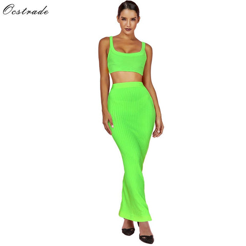 Ocstrade Summer Bandage 2 Piece Set 2019 New Arrival Women Neon Green Green Bandage Dress Bodycon Two Piece Bandage Dress Party