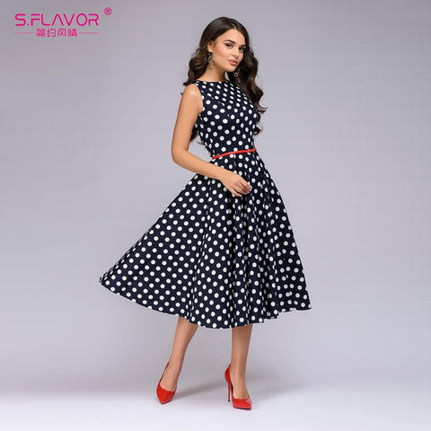 Summer Sleeveless Polka Dot Print Dress O Neck Vintage Retro Knee Length Party Dresses