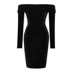 Spring Midi Dress Solid Black Elegant Casual Off Shoulder Velvet Dress