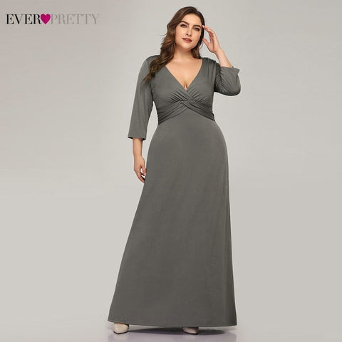 Ever Pretty Elegant Grey Mother Of The Bride Dresses A Line Deep V Neck Full Sleeve Formal Plus Size Mother Dresses Farsali 2019