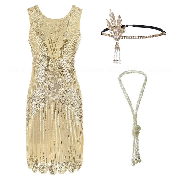1920s Flapper Roaring 20s Great Gatsby Costume Fringed Sequin Beaded Dress