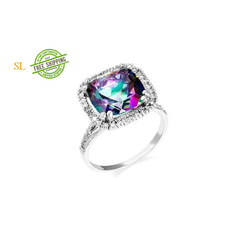 6.00 Ctw Genuine Mystic Quartz Ring In Sterling Silver