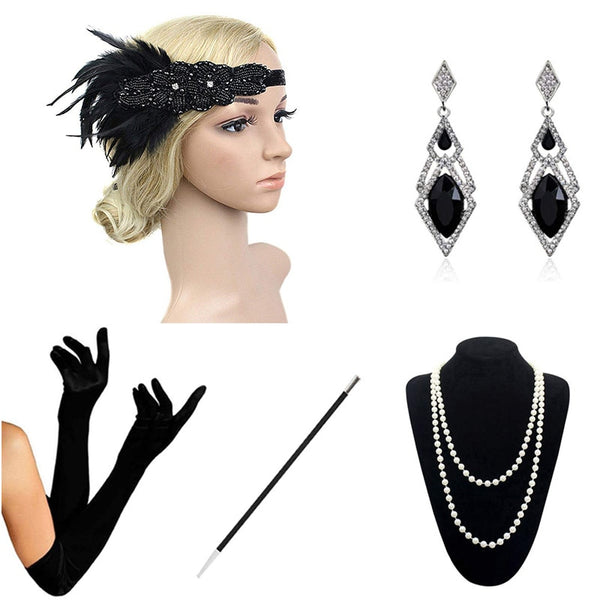Black 1920s Accessories Set Great Gatsby Flapper Costume for Women Headband Gloves Cigarette Holder Necklace Bracelets