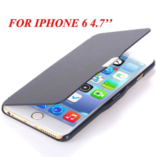 6S/6+ Capa Ultra Thin Pu Leather Case For Apple Iphone 6 6S 4.7Inch/ For Iphone 6 6S Plus 5.5Inch Magnetic Chip Back Phone Cover Black For