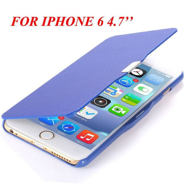 6S/6+ Capa Ultra Thin Pu Leather Case For Apple Iphone 6 6S 4.7Inch/ For Iphone 6 6S Plus 5.5Inch Magnetic Chip Back Phone Cover Blue For