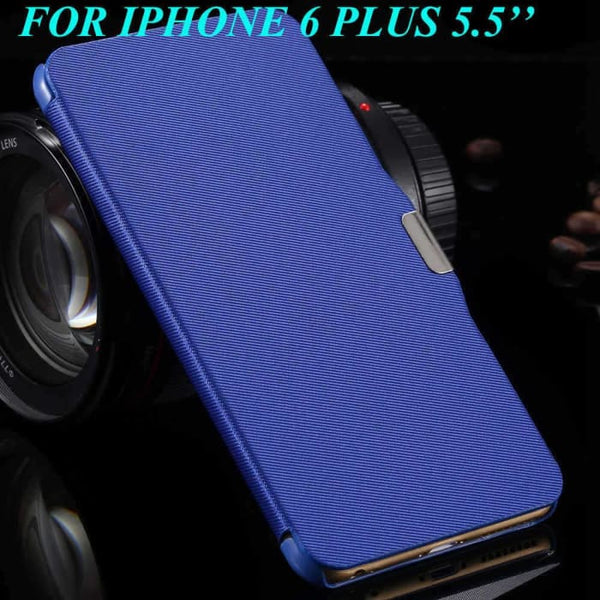 6S/6+ Capa Ultra Thin Pu Leather Case For Apple Iphone 6 6S 4.7Inch/ For Iphone 6 6S Plus 5.5Inch Magnetic Chip Back Phone Cover Blue For 6