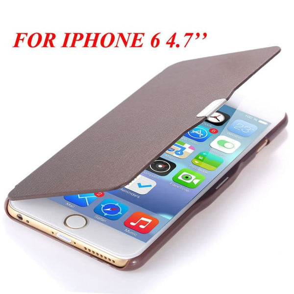 6S/6+ Capa Ultra Thin Pu Leather Case For Apple Iphone 6 6S 4.7Inch/ For Iphone 6 6S Plus 5.5Inch Magnetic Chip Back Phone Cover Brown For