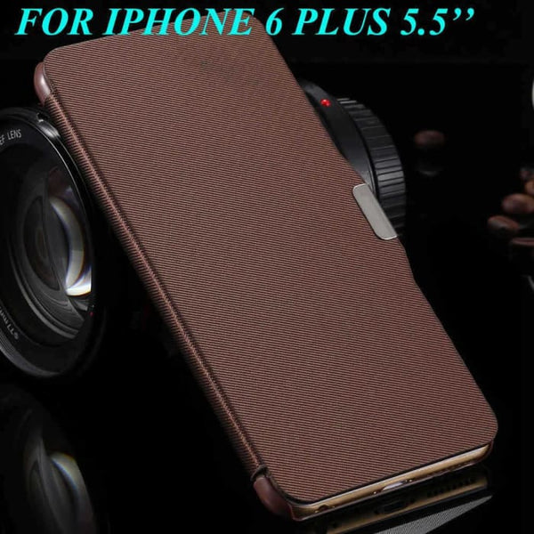 6S/6+ Capa Ultra Thin Pu Leather Case For Apple Iphone 6 6S 4.7Inch/ For Iphone 6 6S Plus 5.5Inch Magnetic Chip Back Phone Cover Brown For 6