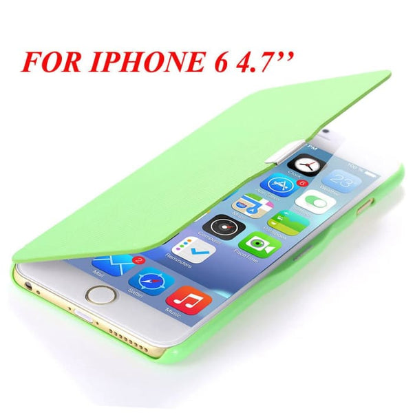 6S/6+ Capa Ultra Thin Pu Leather Case For Apple Iphone 6 6S 4.7Inch/ For Iphone 6 6S Plus 5.5Inch Magnetic Chip Back Phone Cover Green For