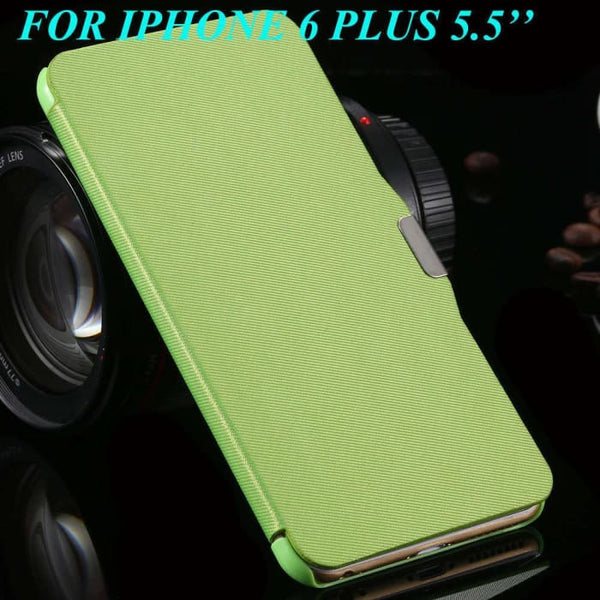 6S/6+ Capa Ultra Thin Pu Leather Case For Apple Iphone 6 6S 4.7Inch/ For Iphone 6 6S Plus 5.5Inch Magnetic Chip Back Phone Cover Green For 6