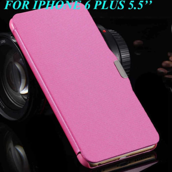 6S/6+ Capa Ultra Thin Pu Leather Case For Apple Iphone 6 6S 4.7Inch/ For Iphone 6 6S Plus 5.5Inch Magnetic Chip Back Phone Cover Hot Pink