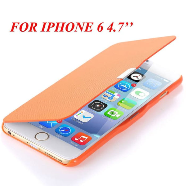 6S/6+ Capa Ultra Thin Pu Leather Case For Apple Iphone 6 6S 4.7Inch/ For Iphone 6 6S Plus 5.5Inch Magnetic Chip Back Phone Cover Orange For