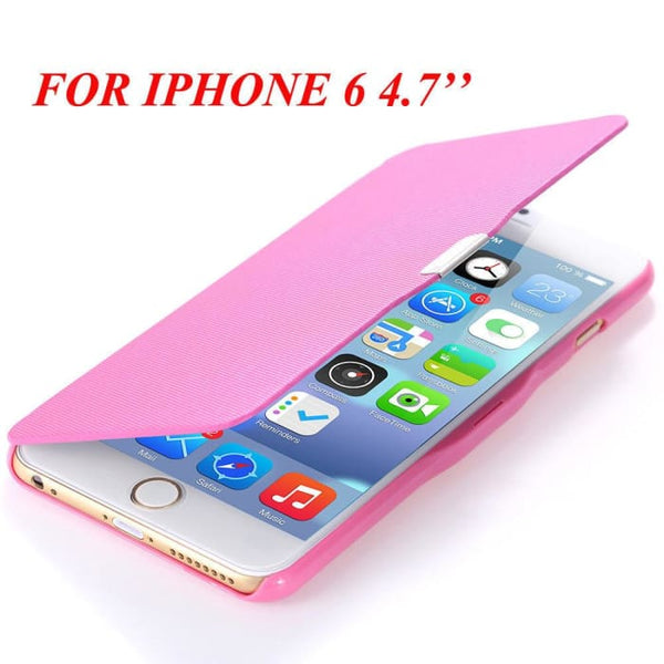 6S/6+ Capa Ultra Thin Pu Leather Case For Apple Iphone 6 6S 4.7Inch/ For Iphone 6 6S Plus 5.5Inch Magnetic Chip Back Phone Cover Pink For