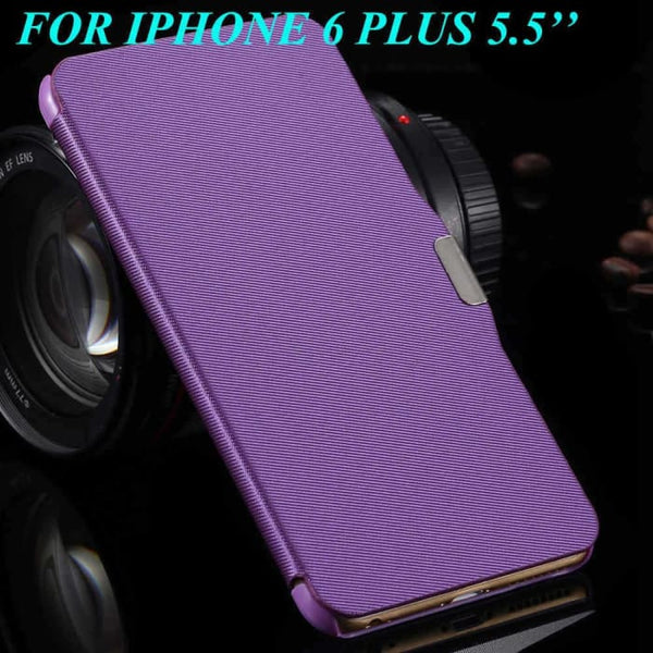6S/6+ Capa Ultra Thin Pu Leather Case For Apple Iphone 6 6S 4.7Inch/ For Iphone 6 6S Plus 5.5Inch Magnetic Chip Back Phone Cover Purple For