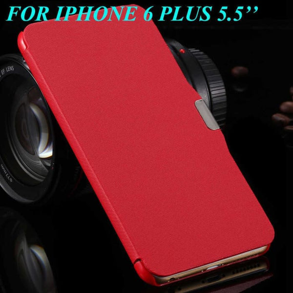 6S/6+ Capa Ultra Thin Pu Leather Case For Apple Iphone 6 6S 4.7Inch/ For Iphone 6 6S Plus 5.5Inch Magnetic Chip Back Phone Cover Red For 6