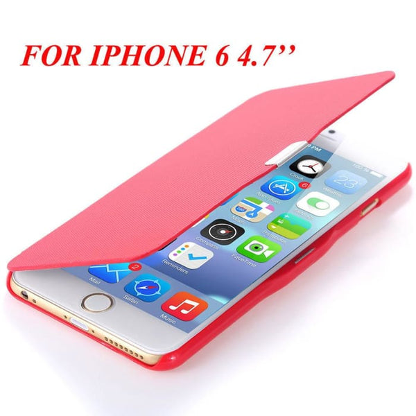 6S/6+ Capa Ultra Thin Pu Leather Case For Apple Iphone 6 6S 4.7Inch/ For Iphone 6 6S Plus 5.5Inch Magnetic Chip Back Phone Cover Red For