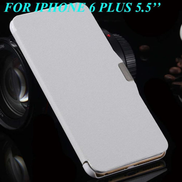 6S/6+ Capa Ultra Thin Pu Leather Case For Apple Iphone 6 6S 4.7Inch/ For Iphone 6 6S Plus 5.5Inch Magnetic Chip Back Phone Cover White For 6