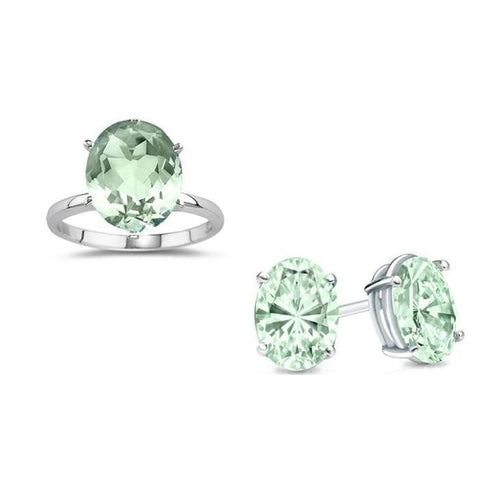 7.00 Cttw Genuine Green Amethyst Ring And Earrings Set In Sterling Silver