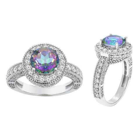 7.50 Ctw Mystic Topaz Ring With Micro Pave Crystal Halo